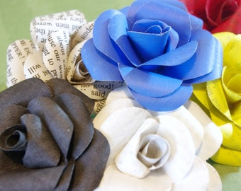 Stylized upcycled paper roses, dimensional embellishment, lot of six, made to order
