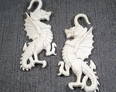 FINAL PRICE CUT -- Imperial White Bone Dragon Protector - Gauge Earrings - Fantastic Epic Medieval Rendition Of The Best- 3.2mm 8 Gauge