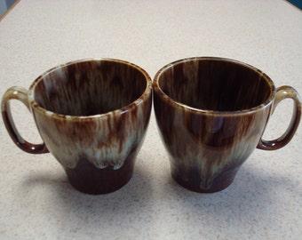 Pair of Drip Glaze coffee cups mugs