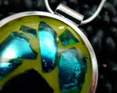 sea glass contained mosaic pendant