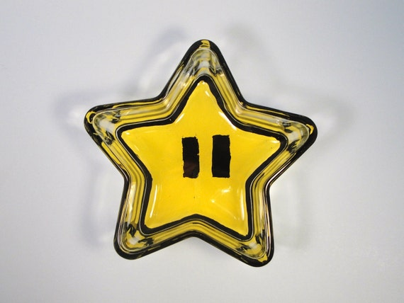RESERVED FOR HEEDRIX Hand Painted Glass Mario Star Cereal bowl