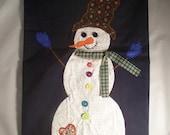Appliqued Snowman Decorative  Small Flag