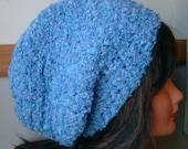 Fuzzy Soft Blue Slouchy Tam, Dreads, Hippie,Ready to ship
