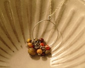 H a l s k e t t e  - Beaded Bauble Circle Charm Silver Necklace, OOAK and Ready to Ship