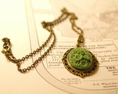 H é l è n e - Fern Woodland Green Daisy Cabochon Charm on Bronze Brass Chain Necklace, OOAK, Ready to Ship