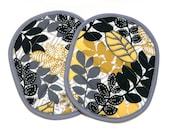 Hot Pads Gray Yellow Black Leaves
