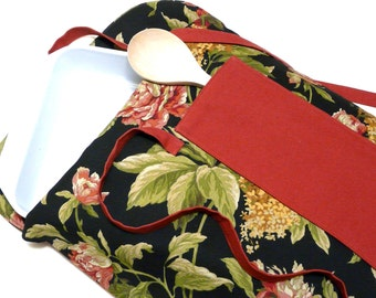 Insulated Casserole Carrier Black and Persimmon Floral--Ready to Ship