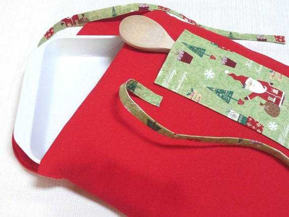 Christmas Casserole Carrier Insulated Red Santa