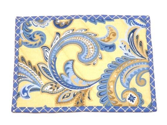 Trivet Hot Pad Casserole Mat Blue and Yellow Paisley