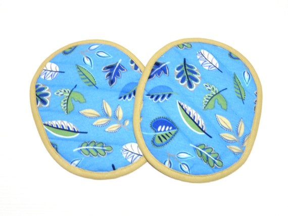 Quilted Pot Holders Blue and Yellow Leaf--Ready to Ship