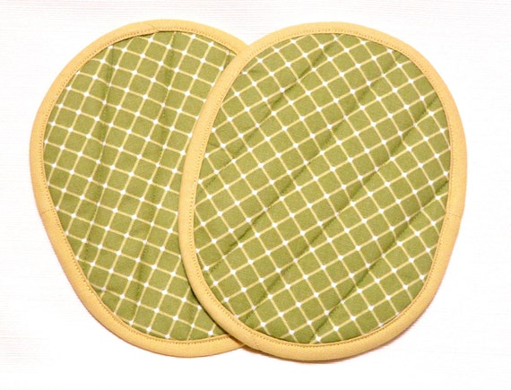 Quilted Potholders Apple Green and Lemon Yellow--Ready to Ship