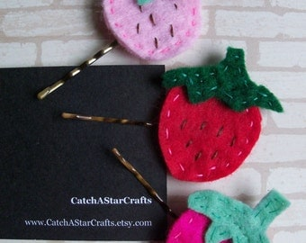 Strawberry Bobby Pins