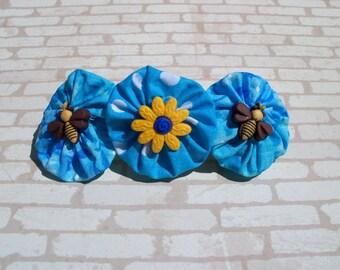 Bee and Flower Hand Sewn Triple Yoyo Barrette