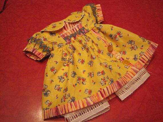 American Girl, Waldorf doll clothes...retro kitty