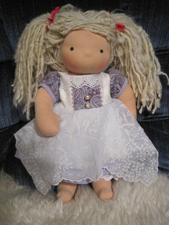 American Girl, Waldorf doll clothes....vintage handkerchief dress