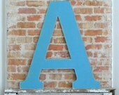 """36"""" Wooden Letter A, Alternative Wedding Guestbook, Classic Font in Distressed Aqua - all letters available in many colors"""