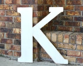 "24"" Wooden Letter K, Alternative Wedding Guestbook, Classic Font in Distressed White - all letters available in many colors"