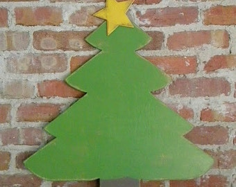 """Wooden Christmas Tree with Gold Star Distressed 24""""H"""