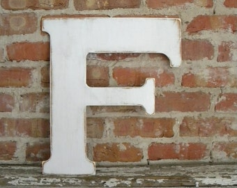 """18"""" Wooden Letter F, Classic Font in Distressed White - all letters available in many colors"""