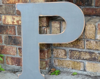 "18"" Wooden Letter P, Classic Font in Distressed Gray - all letters available in many colors"