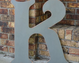 "24"" Wooden Letter K, Elegant Font in Distressed Gray - all letters available in many colors"