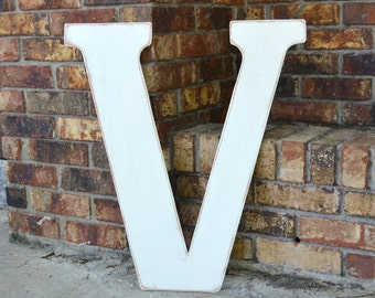 "24"" Wooden Letter V, Classic Font in Distressed White - all letters available in many colors"
