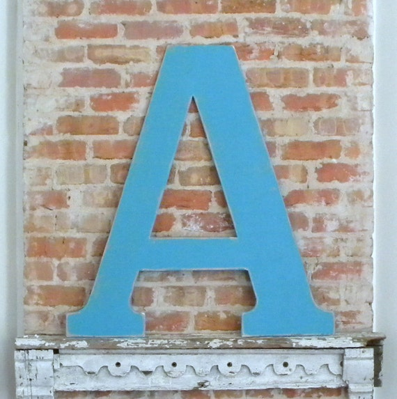"36"" Wooden Letter A, Alternative Wedding Guestbook, Classic Font in Distressed Aqua - all letters available in many colors"