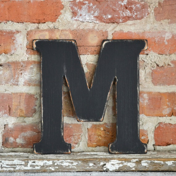 """12"""" Wooden Letter M, Classic Font in Distressed Black - all letters available in many colors"""
