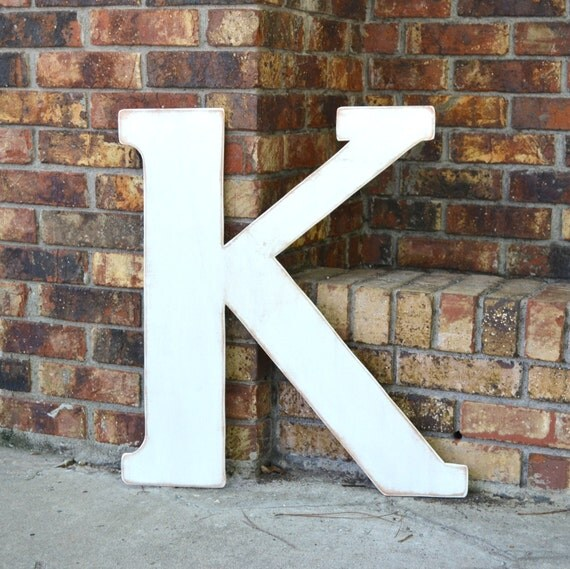 """24"""" Wooden Letter K, Alternative Wedding Guestbook, Classic Font in Distressed White - all letters available in many colors"""
