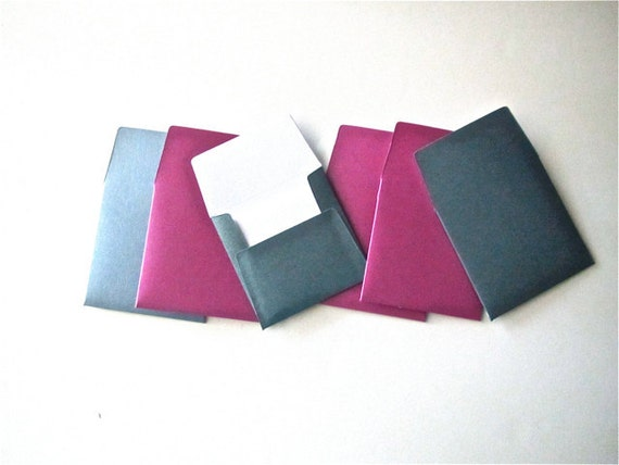 6 teeny tiny miniature square blue and magenta glimmery envelope note card sets