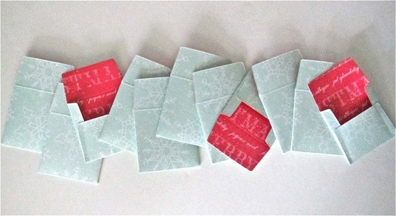18 teeny tiny miniature square Christmas envelope gift tag sets