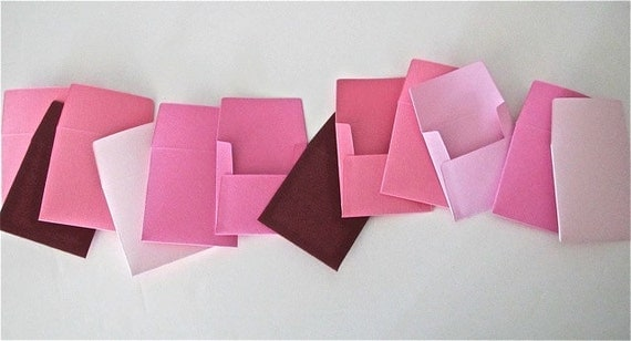18 teeny tiny miniature square Valentine's pinks envelope note sets stationery party favors weddings guest book table number