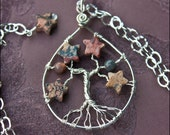 Jasper Stars Tree of Life Necklace - GROUNDED - Argentium Sterling Silver