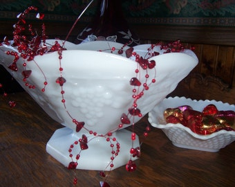 Vintage Milk Glass Grape and Leaf Pattern Pedestal Bowl Compote for the HOLIDAYS