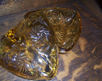 Vintage Golden Amber Fine Cut Glass Candy Dish With Cover