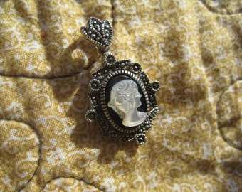 Vintage Marcasite and Sterling Silver Cameo Pendant