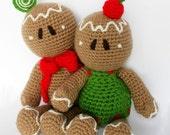 Holiday Amigurumi PDF Pattern (Crochet pattern): Ginger Rogers & Bread Astaire -Gingerbread Man-
