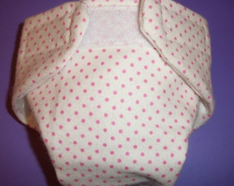 Doll diaper #3 READY TO SHIP  cloth adjustable white with pink dots  fits  cabbage patch dolls bitty baby fur real monkey and more