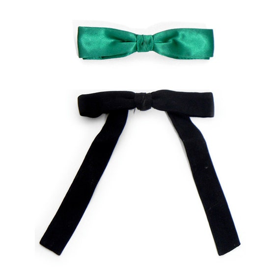 Two (2) Vintage Bow Ties, Black and Green