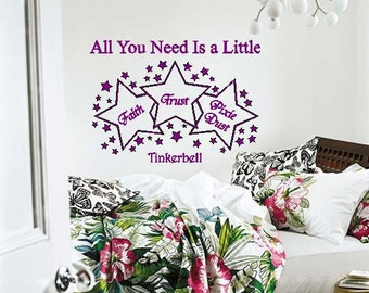 Tinkerbell Faith Trust Pixie Dust Wall Lettering with Stars Vinyl Decal Graphic