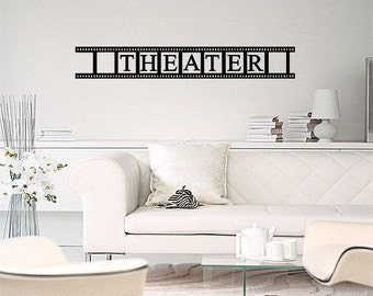 Wall Lettering Decal THEATER FILM STRIP 6 X 40