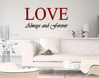 Wall Lettering Love Always And Forever 2 Colors