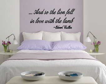 Wall Lettering Twilight And So The Lion Fell In Love With The Lamb Wall Art Vinyl Decal