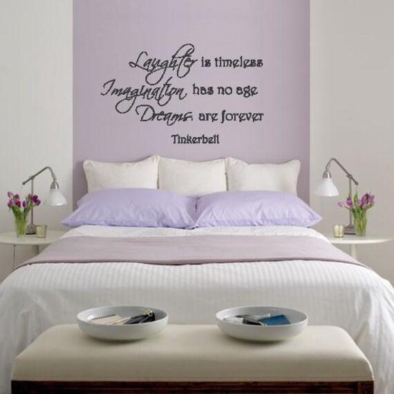 wand schriftzug tinkerbell lachen ist zeitlose fantasie sind. Black Bedroom Furniture Sets. Home Design Ideas