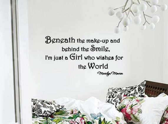 Marilyn Monroe Beneath The Makeup Quote: Wall Lettering Marilyn Monroe Beneath The Make-up Saying Quote