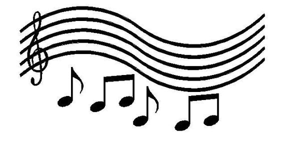 Wall Lettering Music Staff With Notes Vinyl Decal Wall Art