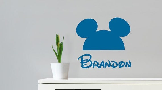 Wall Decal Mickey Mouse Ears Personalized Kids Name Disney Kids Room Vinyl Lettering Name