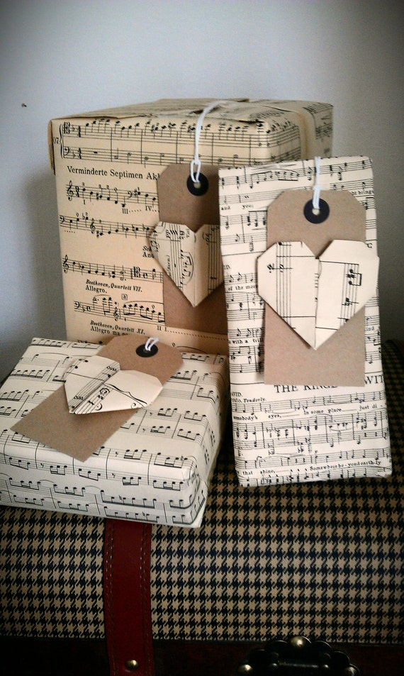 SALE - Vintage Music Sheet Wrapping Paper Gift Tag Set