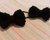 Knitted Bow Bobby Pins Hair Clips Black
