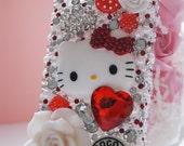 Hello Kitty Iphone 4 4s Red Flower Designer Elegant Pearl Decoden Bling Rhinestone Cell Phone Case